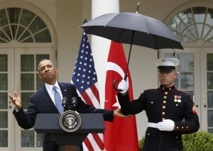 No more rain = Obama's all good.